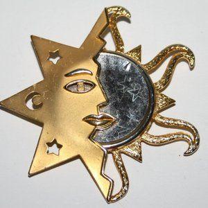 Vintage gold sun JJ brooch